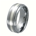 Tungsten Band with silver inlay TNS-3058L