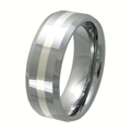 Tungsten Band with silver inlay TNS-3060L