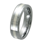 Tungsten Band with silver inlay TNS-3060M