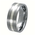 Tungsten Band with silver inlay TNS-3075