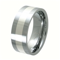 Tungsten Band with silver inlay TNS-3079