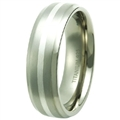 Titanium Band with silver inlay TS-3041